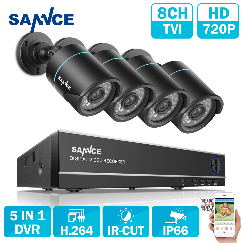 SANNCE 8CH CCTV Système de Sécurité 4 PCS 720 P Intempéries Night Vision IR Cut CCTV Caméras Vidéo Surveillance Kit Pour RU Stock