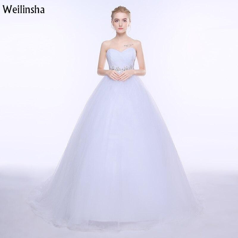 weilinsha 2017 new design wedding dress ball gown with appliques pleats long bridal gowns dress custom