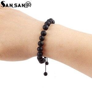 Image 5 - New Design Black Volcanic Stone Beads Bracelet Woman Men Lava Healing Balance Reiki Prayer adjustable bracelet