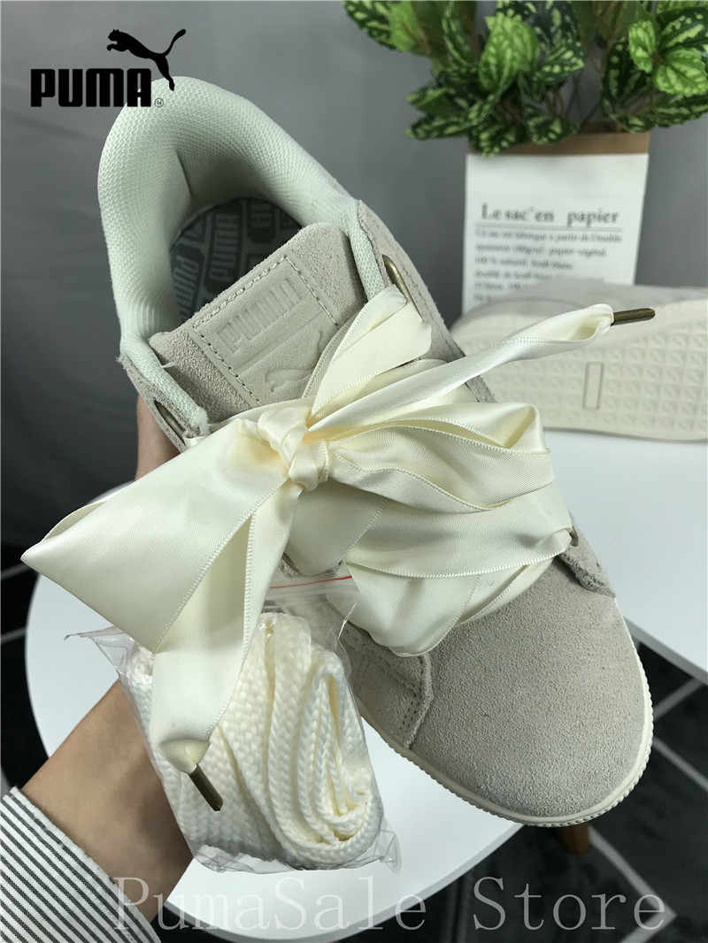 Detail Feedback Questions about Original Puma SUEDE Heart Satin Wn Sneaker  362714 04 Women s Badminton Shoes Beige Color Silk Bow Sneaker Size EUR35.5  40 on ... b88c48283