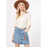 Purebliss 2017 Women Boho Chic Flower Floral Print Embroidered Denim Jean Mini Short Skirt