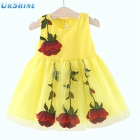 Red Roses Floral Dress Baby Girl Clothes Girl Mesh 2018 Summer Princess Dress Sleeveless 6-36 Month Kids Clothes