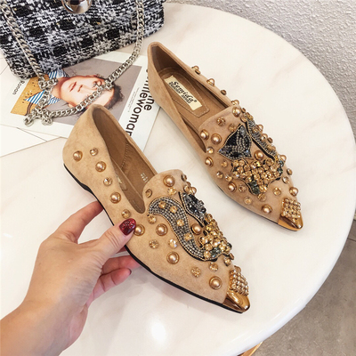 Image 1 - SWYIVY Flat Shoes Woman 2019 Spring Slip On Sneakers Shoes Casual Female Womens Shoes Flat With Rhinestone  Rivet Flat WomanWomens Flats   -