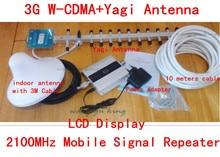 CONJUNTO COMPLETO 3g amplificador de señal de la pantalla LCD + yagi 18dbi! wcdma 2100 mhz 3g repetidor de la señal móvil, amplificador de señal de teléfono celular 3g