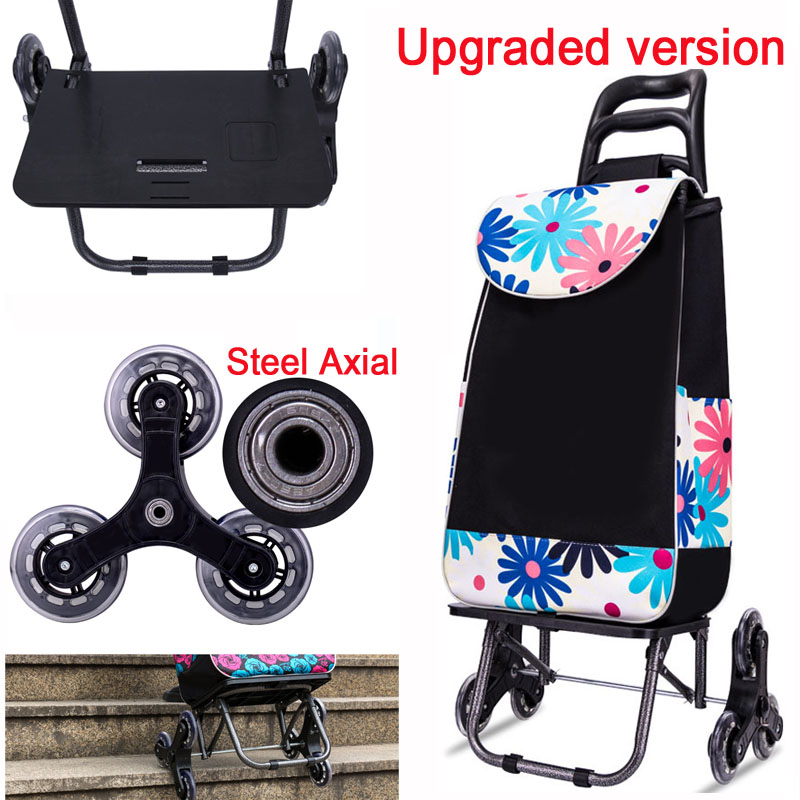 2fe290288a14 US $45.25 15% OFF|A,Upgrade 25L Lightweight folding shopping carts Sturdy  hand carts trolleys Shopping Bag Waterproof 6wheels climb stairs Easily-in  ...