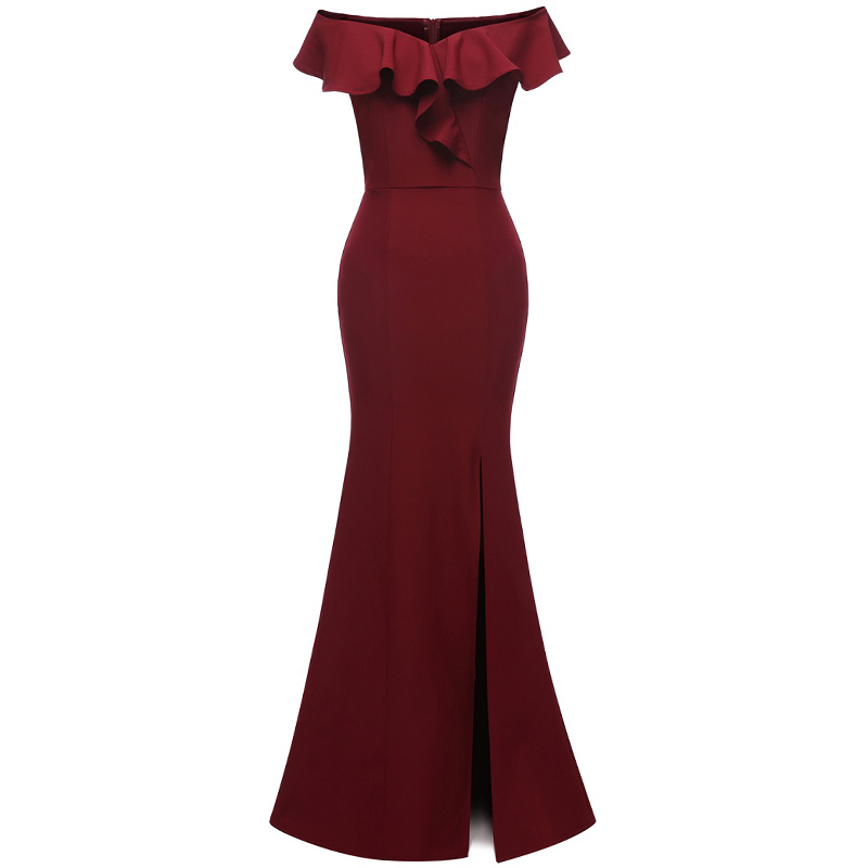 2019 Burgundy Lace Mermaid Long Bridesmaid Dresses Off The Shoulder A Shoulder Dress For Wedding Party Robe Vestidos De Fiesta