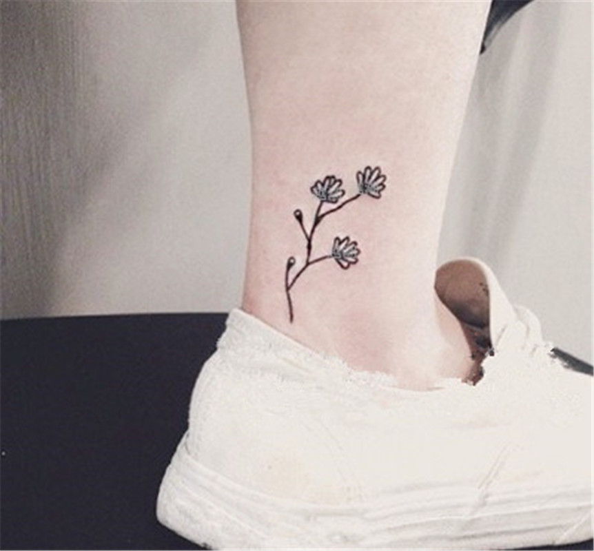 Original Black Fresh Grass Flower Fake Tattoo Waterproof