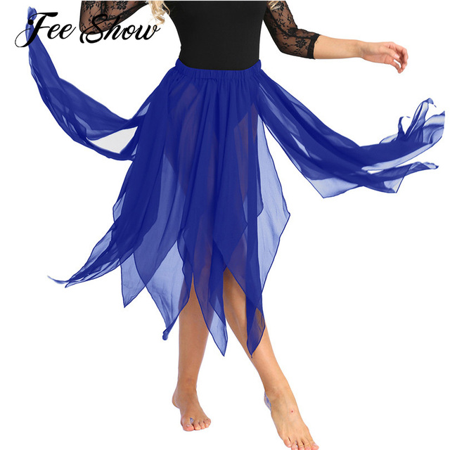 2c5652b776 New Women Girls Asymmetric Belly Dance Skirt Fashionable 13 Panel Side  Split Chiffon Skirt Adult Performance Costume Dance Skirt