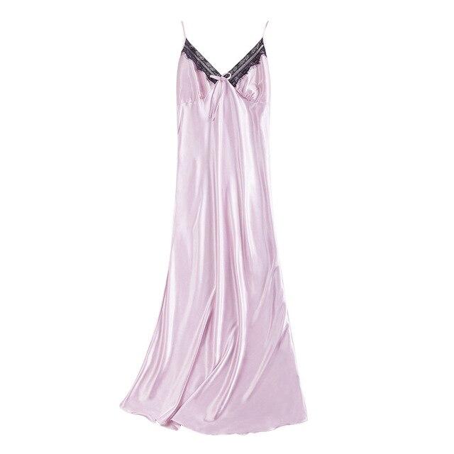 2019 Sexy Slip Silk Nightgown Satin Women Sleepwear Night Wear Women Long Home Dressing Gown Sleeping Dress Nightwear Nightdress 4