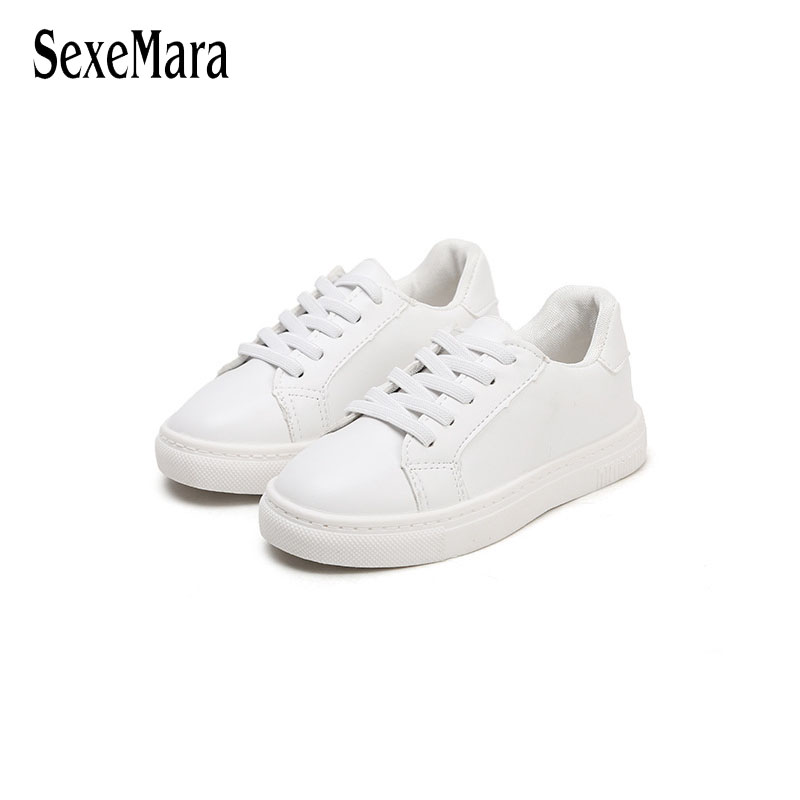 School Students Girls Leather Shoes White Boy Sneaker 2018 Casual Childrens Sneakers Shoes Flats Platform Sneakers Black B06162