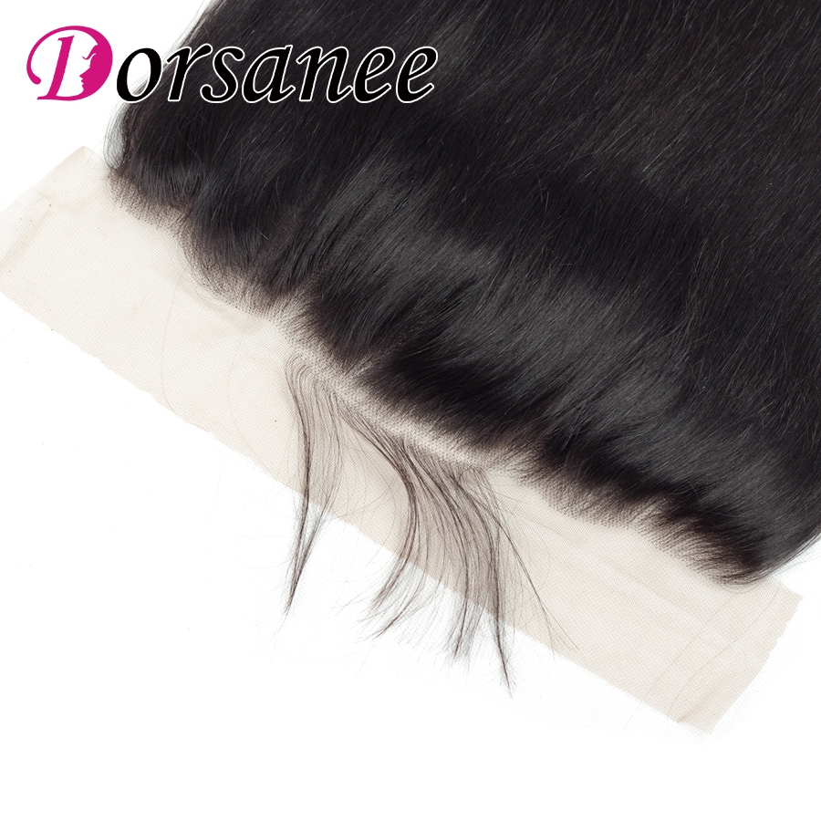 Dorsanee Brazilian Straight Hair Closure 13*4 Pre Plucked Human Hair Swiss Lace Closure With Baby Hair Non Remy Free Shipping
