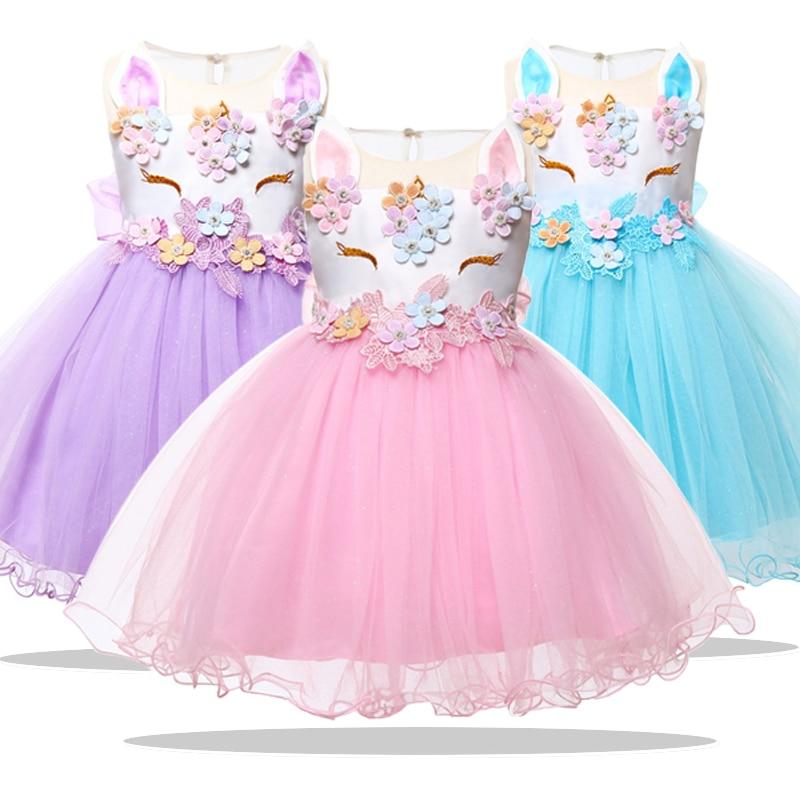 6de5c762a Nueva ropa de Navidad vestido de niña 2019 invierno princesa bebé nacido  unicornio vestido para ...