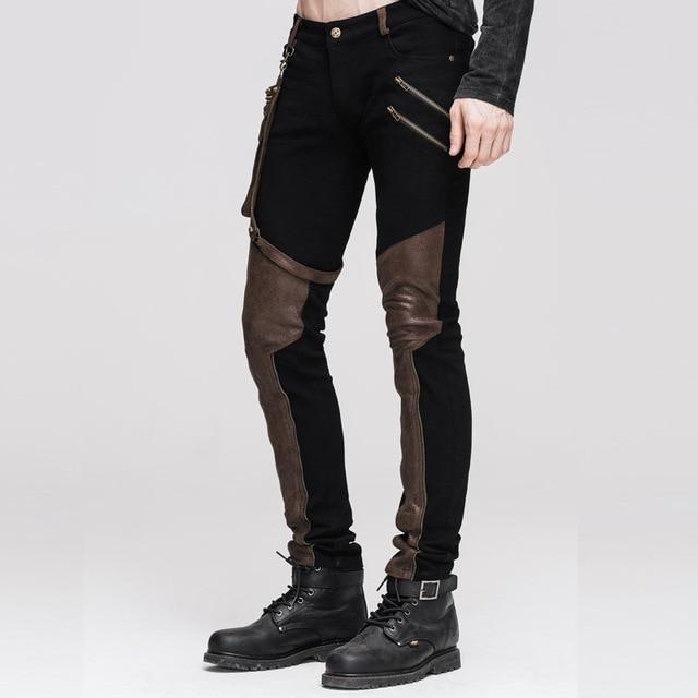 Devil Fashion Punk Leather Pants Men With Hip Holster Pocket Casual Vintage Halloween Stitched Casual Pants Men Tactical Pants 5