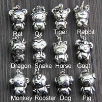 100% 925 Sterling Silver Charm 12 Chinese Zodiac Vivid Animal Charm DIY Charms Pendant for Jewelry Making Accessories 1 piece