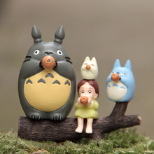 5pcs/lot Totoro Figure Toys Miyazaki Hayao My Neighbor Totoro Mei Wood PVC Action Figure Collection Model Toy Micro Landscape