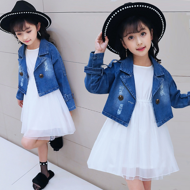 2018 Toddler Girls Clothes Set Denim Jackets + Sleeveless Dress 2 Piece Cotton Clothing Outfit Little Girl Autumn Suit Costume цены онлайн
