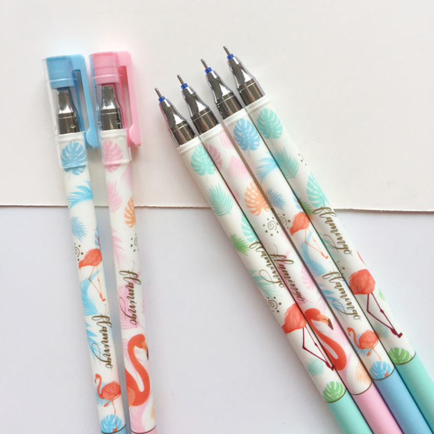 2pcs lot Cute Fresh Flamingo Erasable Gel Pen 0 5mm Blue Ink Kawaii Student Gel Pen Student Kids Girl Party Supply Favor Gift in Party Favors from Home Garden