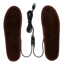 Новинка; плюшевые меховые стельки с электрическим питанием от USB; зимние теплые стельки для обуви; Размеры 35-44