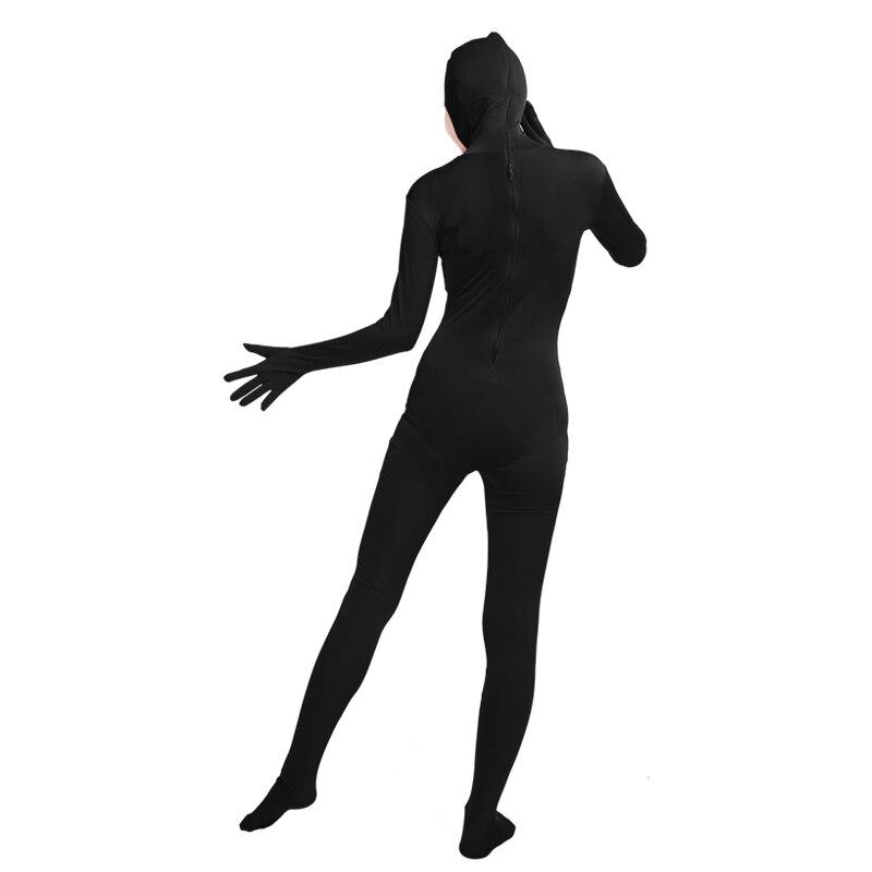 Ensnovo Unisex Cosplay Zentai Suits Women Men Adult Open Face Full Body Spandex Suit Zentai Black Bodysuit Cosplay Costumes