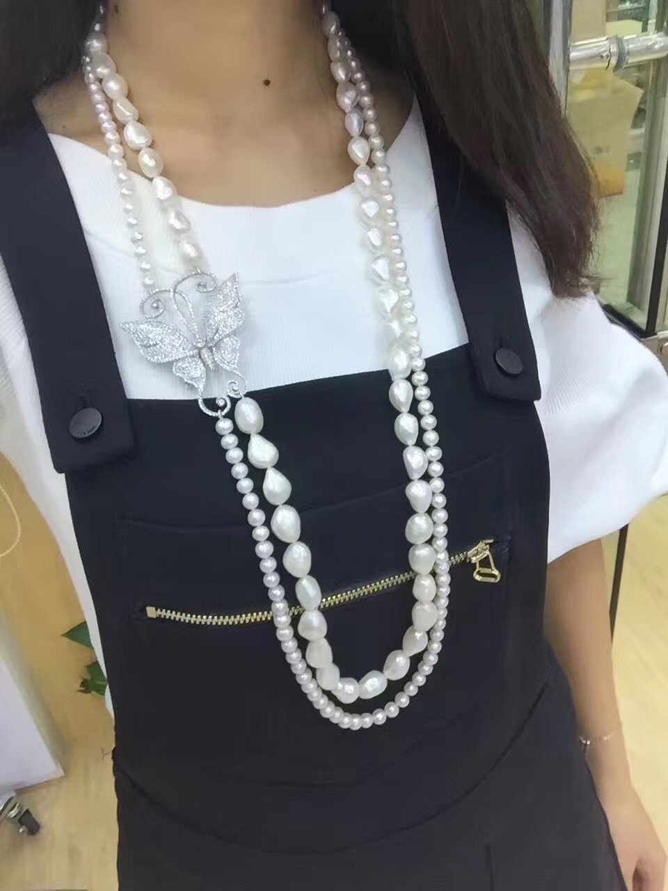 long fresh water pearl necklace double layers cubic zircon butterfly fashion women jewelry free shippinglong fresh water pearl necklace double layers cubic zircon butterfly fashion women jewelry free shipping