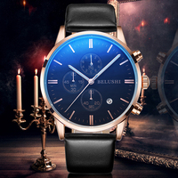 BELUSHI NEW Quartz Watch Men Leather Casual Watches Men's Clock Male Sports Wristwatch montre homme hodinky ceasuri saat relogio