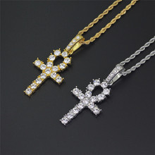 Micro Pave Rhinestone Iced Out Ankh Cross Necklace & Pendants Egyptian Key of Life for Men  HIP Hop Jewelry Dropshipping