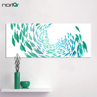 Frameless 50cm 125cm HD Canvas Print Wall Art Painting Schools Of Green Fish For Living Room