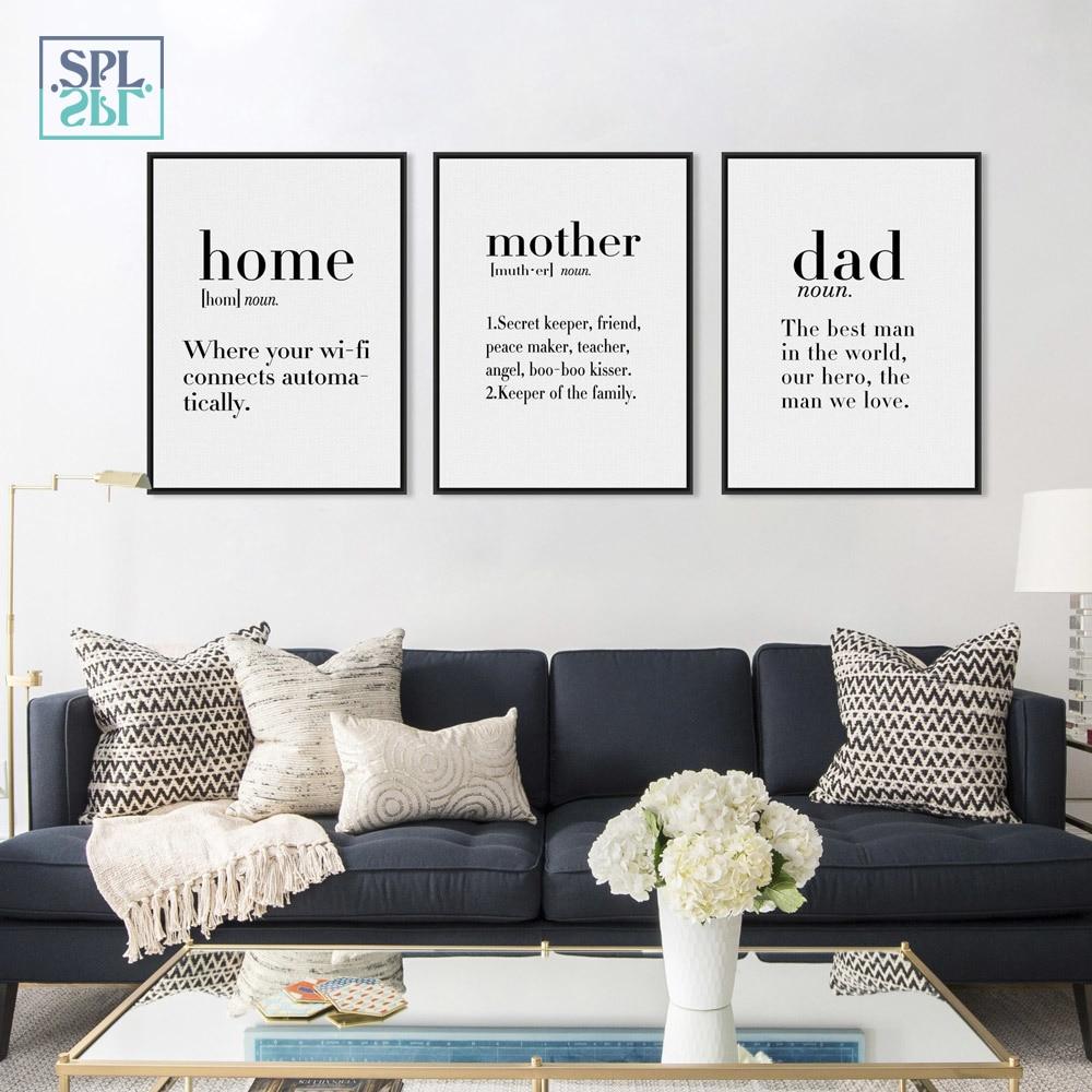 SPLSPL некадрированным минималистский изображение Черный и белый Семья папа мама кавычки A4 Плакаты стены Книги по искусству холст картины Home ...