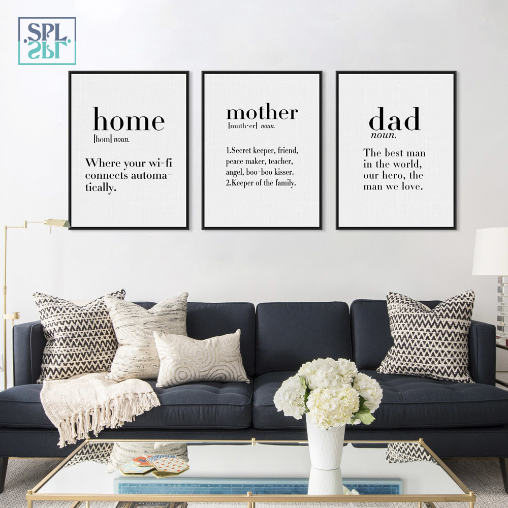 SPLSPL Unframed Minimalist Picture Black and White Family Dad Mother Quotes A4 Posters W ...
