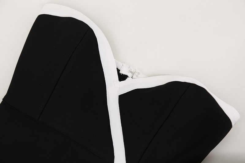 Элегантный Для женщин длинные платья повязки сексуальная без бретелек с высоким разрезом черный, белый цвет наряд знаменитости Eevning Платья для вечеринок Bodycon 2018 лето