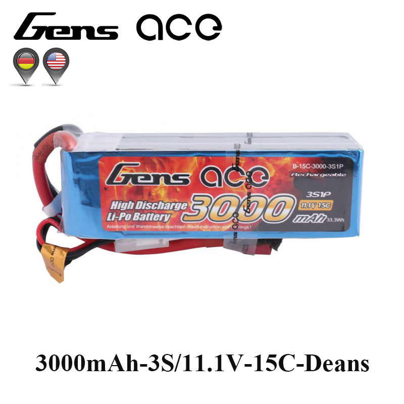 Gens ace Lipo Battery 11.1V 3000mAh Lipo 3S Battery Pack 15C Deans Plug Reliable Power for RC Helicopter Quadcopter FPV Drone gens ace lipo battery 7 4v 11 1v 800mah lipo 2s 3s 15c rc quadcopter t connector for fixed wing 250 helicopter jst plug