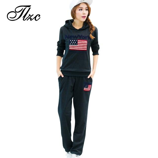 TLZC New Arrival Women Fashion Suit Large Size L-4XL Hooded Design Tops + Pants Lady Casual Clothing Set 2 Pieces