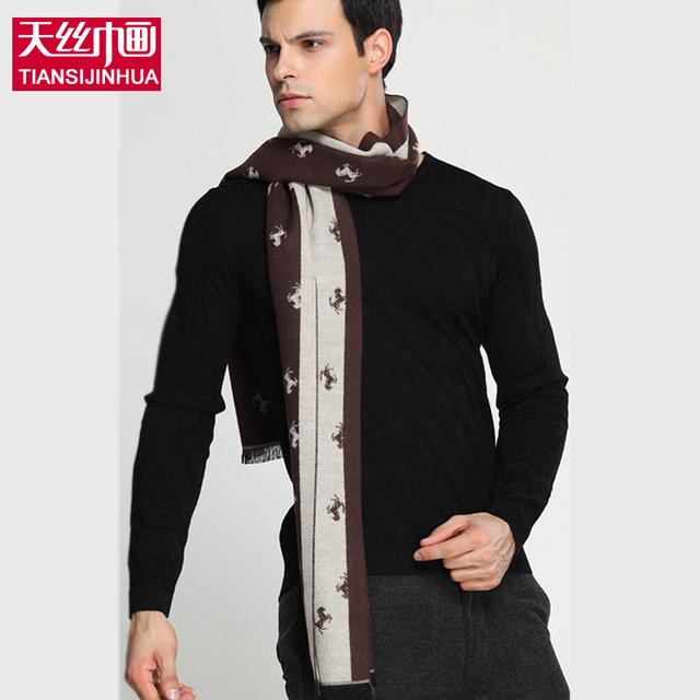 Écharpe Люксовый бренд зима мужчины шарф воротник настоящее кашемир Искусственный шерстяной Шарф Темно-Синий цвет с красный конь вышивка шарфы