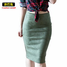 2017 Autumn Suede Pencil Midi Skirt Women Multi Color Winter Basic Tube Bodycon Skirts Female Saia Femininas