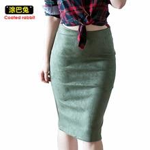 2018 Autumn Suede Pencil Midi Skirt Women Multi Color Winter Basic Tube Bodycon Skirts Female Saia Femininas