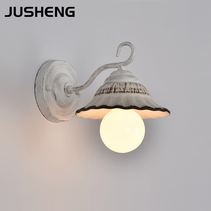 JUSHENG sconces wall lamp for white color metal iron ceramics shade indoor bedside new classical wall lights E27 110-240V AC