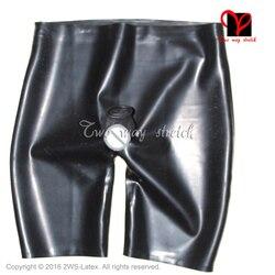 Lattice Nero Sexy boxer con pene guaina anteriore aperto anale preservativo di Gomma biancheria intima pantaloni Shorts Slip KZ-129