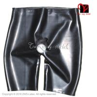 Sexy Zwarte Latex boxershorts met peniskoker open front anale condoom Rubber onderkleding broek Shorts Slips KZ-129