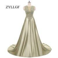 ZYLLGF Army Green Bridesmaids Dresses For Women O Neck Appliques Beaded Party Dress Vestidos Para Damas De Honor Boda MFD12