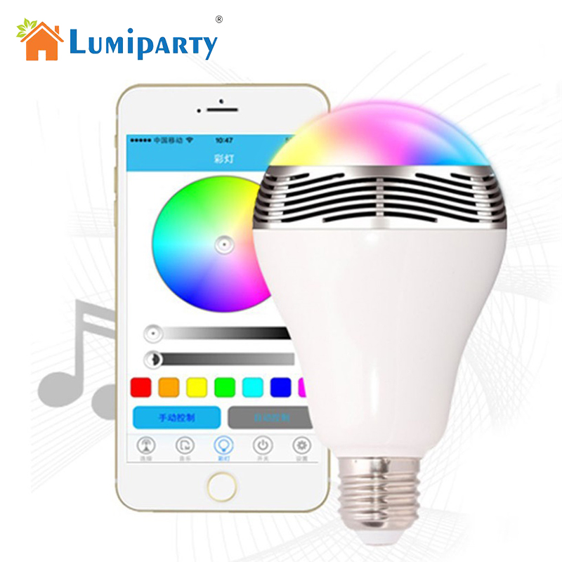 LumiParty LED Wireless Bluetooth Speakers RGB Light Bulb Music Playing Color Changing Lamps with Remote Control jk40 smart bulb wireless bluetooth audio speakers e27 led rgb light music bulb lamp color changing app control