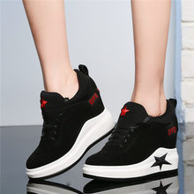 Tennis Shoes Women Genuine Leather Wedges High Heel Pumps Lace Up Platform Creepers Round Toe Punk Trainers Casual