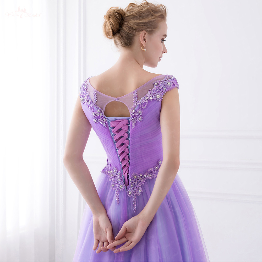 Lujoso Profundas Vestidos De Las Damas De Color Púrpura Festooning ...