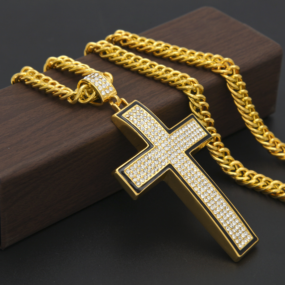 Gold Silver Plated Hip Hop Bling Bling Big Camber Cross