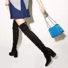 Зимние Для женщин выше колена сапоги до бедра блок Высокие каблуки длинные Обтягивающие джинсы промежности замши Пояса из натуральной кожи Туфли-лодочки Botas