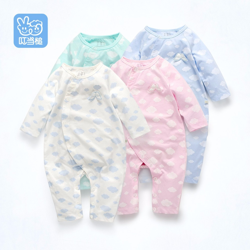 Spring & Autumn Newborn baby Boy&Girl colorful  long sleeve romper,angel wing decoration on the front,Cloud print fabric bim and the cloud