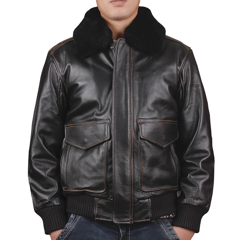 HARLEY DAMSON  Black Men USAF Military A2 Pilot Leather Jacket Europe Size XXL Genuine Thick Cowhide Aviator Leather Coat