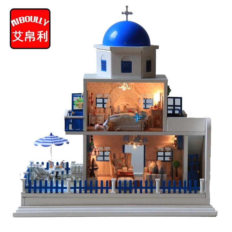 Santorini Blue House Wooden DIY DollHouse 3D Miniature Doll House Furniture Villas Dollhouses with Led Light Best Kids Gift