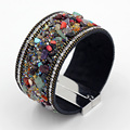 2016 European American Popular Colorful Wide Bangles for Woman Fashion Magnetic Clasp Leather Beads Stone Charm Bracelet NO1605