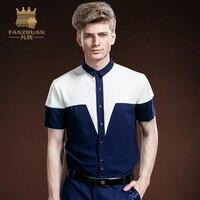 FANZHUAN 2017 New Fashion Featured Brand Mens Shirt Summer Fight Color Short Sleeve Shirt Men High