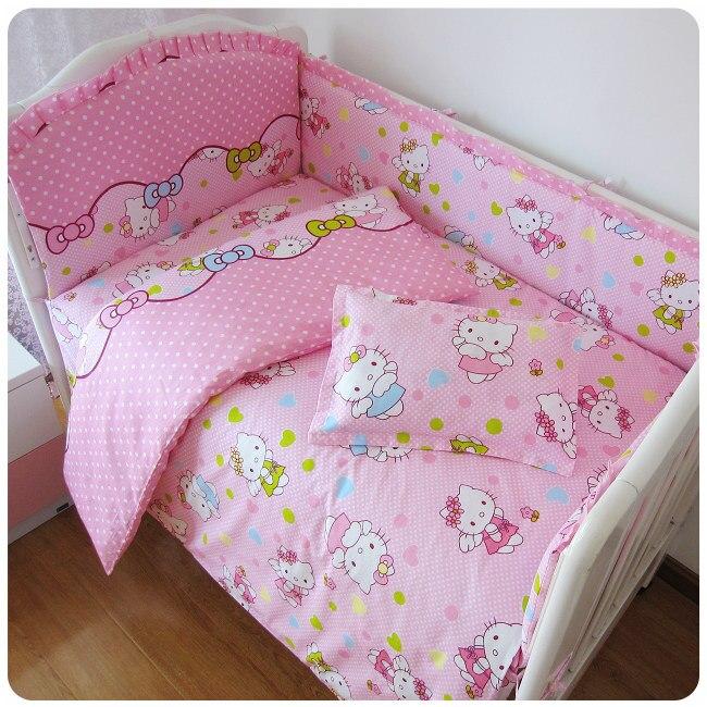 9PCS Baby Crib Bedding Set Curtain Cotton Crib Bumper Crib Set Bed Bumper Cushion Safety Protetor De Berço , 120*60/120*70cm